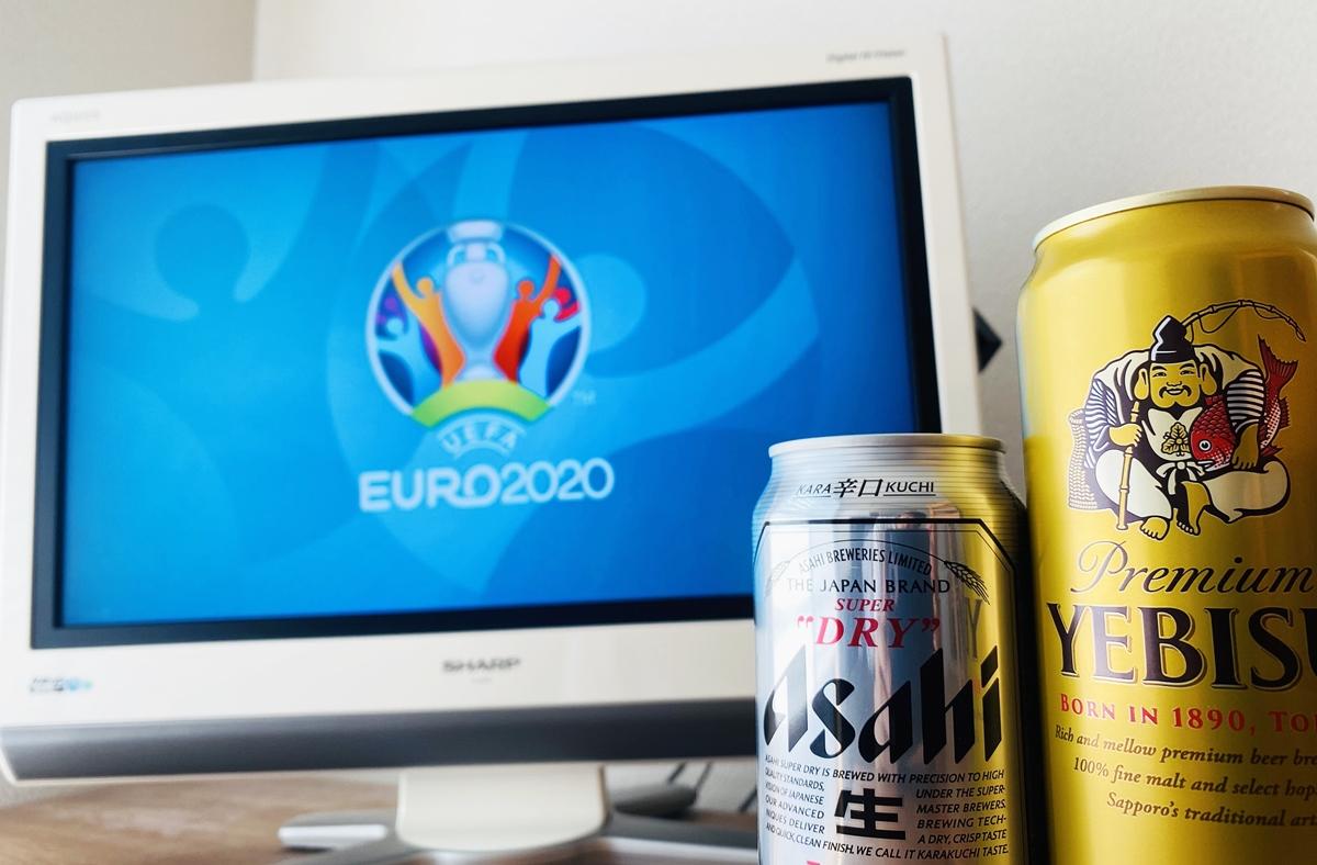 WOWOWのeuro2020の公式ロゴが映ったテレビとビール