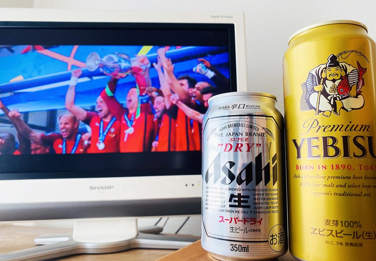 ユーロ016前回王者のポルトガルが映ったテレビとビール