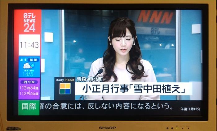 テレビで日テレNews24が映っている写真