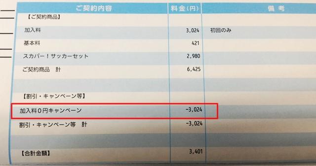 加入料0円キャンペーンが適用されたスカパーの請求書