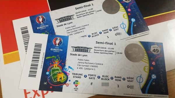 Viagogoで購入したサッカー欧州選手権EURO2016の準決勝のペアチケット
