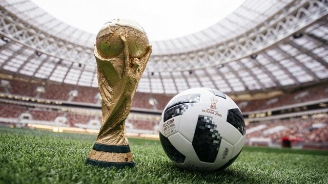 スタジアムの芝生の上にあるワールドカップトロフィーと公式球