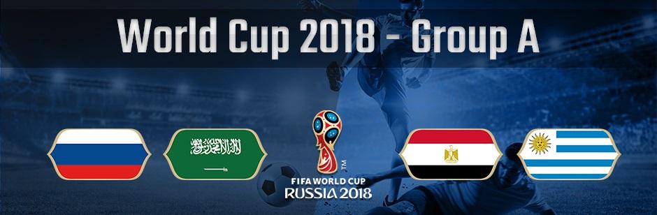 ロシアワールドカップグループAのロシア、サウジアラビア、エジプト、ウルグアイの国旗
