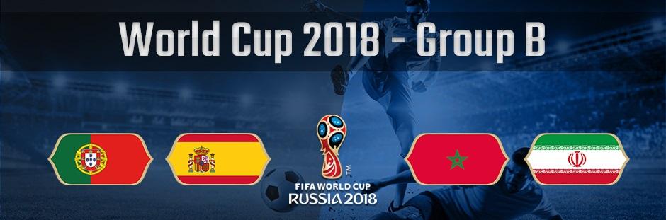 ロシアワールドカップグループB、ポルトガル、スペイン、モロッコ、イランの国旗