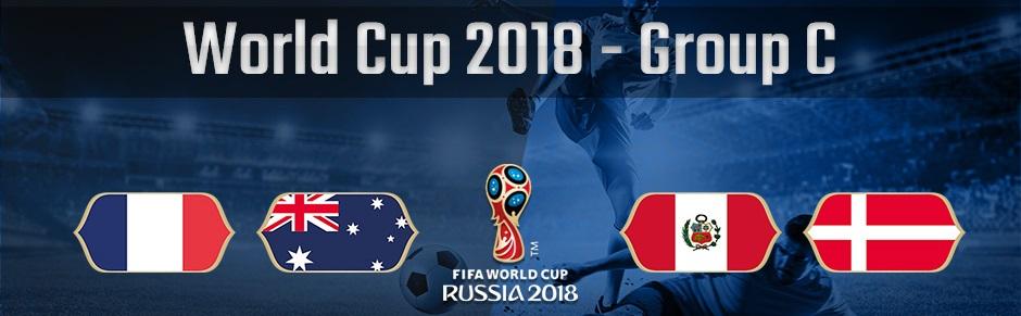ロシアワールドカップのグループC、フランス、オーストラリア、ペルー、デンマークの国旗