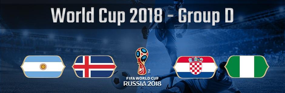 ロシアワールドカップグループDのアルゼンチン、アイスランド、クロアチア、ナイジェリアの国旗