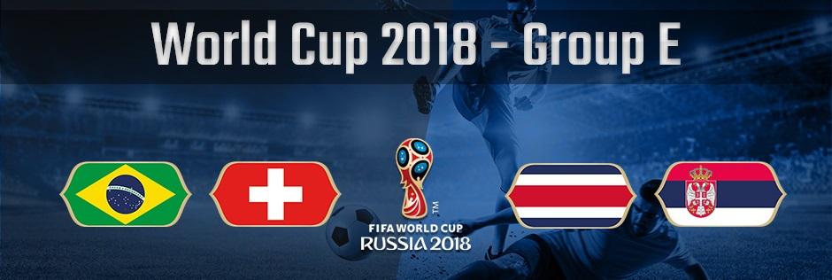ロシアワールドカップグループE、ブラジル、スイス、コスタリカ、セルビアの国旗