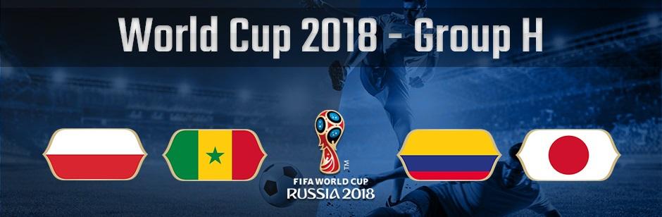 ロシアワールドカップグループH、ポーランド、セネガル、コロンビア、日本の国旗