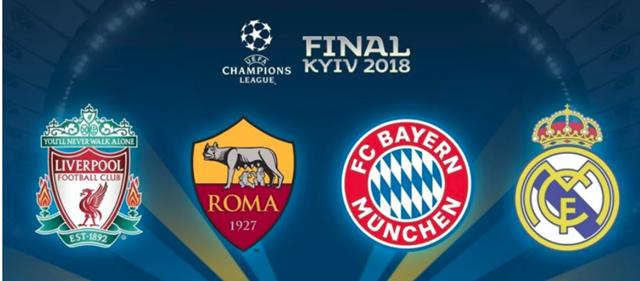 2018CLのベスト4(リバプール、ASローマ、バイエルンミュンヘン、レアルマドリード)のエンブレム