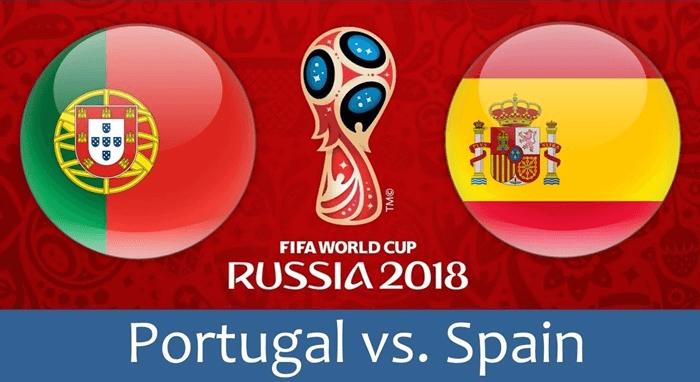 ロシアW杯のポルトガルとスペインの国旗を並べたCG宣伝画像