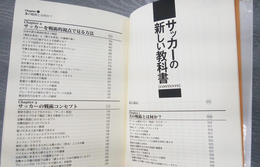 サッカーの新しい教科書の目次部分の写真